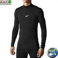 kaos baselayer manset hitam/ baju olahraga gym futsal pria