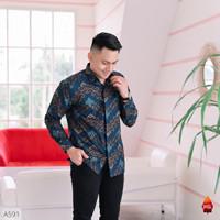 Baju Kemeja Batik Pria Lengan Panjang Pendek Modern Pesta Kantoran G40 - songket navy, S