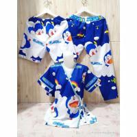 Setelan CP Piyama Kimono Wanita 3 in 1 L / XL Katun Motif Doraemon - Navy, L