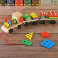 MAINAN kayu kereta geometric /MAINAN balok kayu kereta