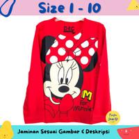 Baju Anak Perempuan / Kaos Lengan Panjang Minnie Mouse Red 1-10 thn