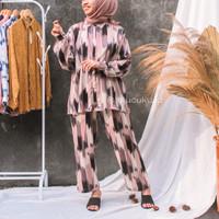 Baju Pajamas Cloe Set Tie Dye Kekinian Wanita Hangout Baju Tidur