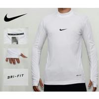 kaos baselayer manset putih/ baju olahraga gym futsal pria