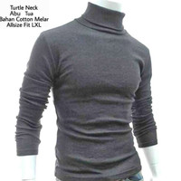 baju kaos turtleneck turtle neck pria lengan panjang leher tinggi
