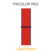 Apple Watch Series SE 6 5 4 3 2 1 Nylon Woven Strap Sports iWatch Loop - TriColor Red, 44mm
