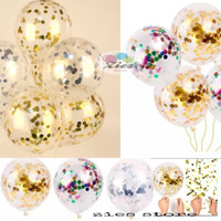 balon latex transparan isi confetti / balon latex bening isi confetti