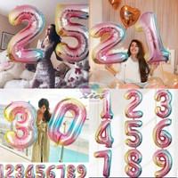 Balon foil huruf / balon foil angka besar 80cm rainbow - 9