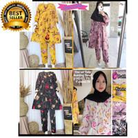 Baju Setelan Wanita Hyget Fashion motif tulip Terbaru Kekinian Murah