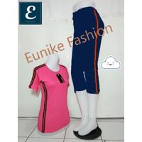 Setelan Baju Senam - Baju Lengan Pendek+Celana 3/4 - Ready Stock