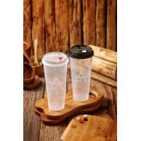 Gelas Plastik Boba/Cheese Tea/ Cup Injection PP 700ml/ Cup+Lid+Cap