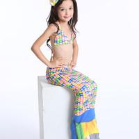 Baju Kostum Renang Mermaid Putri Duyung Ariel Polkadot Rainbow MR32