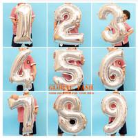 Balon foil angka SILVER 80 cm / balon angka jumbo / balon jumbo