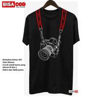 Kaos Pria Motif Kamera Canon All size Fit M/L Baju Distro Kasual