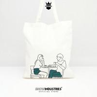 Tas Tote Bag Kanvas Premium Wanita Pria Line Ilustration