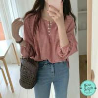 Blouse Cherry Katun Kotak   Blouse Wanita Korea   Baju Atasan Hijab