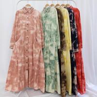 Gamis wanita tiedye soft denim - teracotta