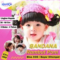 Bandana Bando Bondu Topi wig Bayi Perempuan Rambut Kepang Poni Palsu