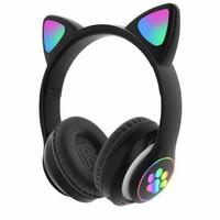 Headset Bluetooth Bando Ear Cat LED Tipe STN-28 / Wireless Bando Cat - Black