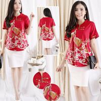 Cia Batik Red Top Baju Blouse Wanita Imlek Lunar CVE