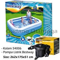 Bestway 54006 Kolam Renang Anak [262 x 175cm] + Pompa Listrik Bestway