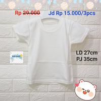 baju bayi kancing polos XL/3pcs - Putih