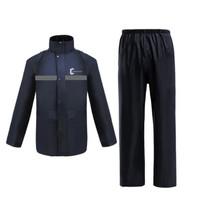 jas hujan keselamatan bercahaya raincoat - Hitam-Biru Campuran PVC