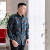 Baju Kemeja Batik Pria Motif Songket Lengan Panjang Katun Halus GB22 - Biru, S