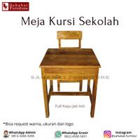 Meja Kursi Belajar Sekolah SD SMP SMA SMK Kayu Jati / Bangku Sekolah