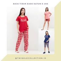Baju Setelan Tidur Wanita Greet Kaos Kombi Katun E-288 - Merah, HP