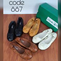 Sepatu Clarks Flat Women 887 / Clark / Flatshoes / sepatu kerja kulit