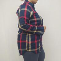 Kemeja Wanita Blossom - Lengan Panjang Kotak strip merah putih hitam