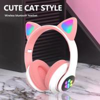 Headset Wireless Bando / Headset Bluetooth Bando Ear Cat LED
