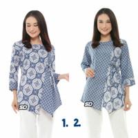 Baju Batik Blouse Kombinasi Motif Soft Blue Kombinasi Terbaru