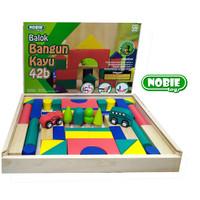 Mainan Edukasi Anak Balok Susun City Block Kayu 42B+ 2 Tahun