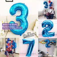 Balon Angka Jumbo BIRU 80 Cm / Balon Foil Angka Besar / balon nomor