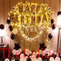 Balon Foil Dekorasi Ulang Tahun Black Gold White Simple