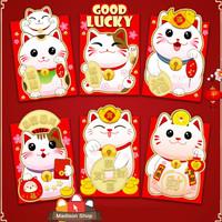 1121 Angpao Pendek Netral Maneki Neko Ampao Kucing Hoki Ampau Grosir