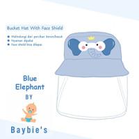 Baybie's Topi Bucket Face Shield Baby / Topi Motif Blue Elephant