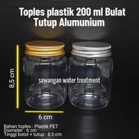 Toples plastik tutup alumunium 200 ml BULAT / toples 200ml alumunium - Ttp Silver, Kardus