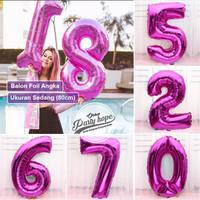 Balon Angka Jumbo PINK 80 Cm / Balon Foil Angka Besar / balon nomor
