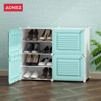 Aonez tempat sepatu 2 baris 4 slots rak sepatu biru shoe rack - Biru Muda, All Size
