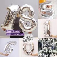 Balon Angka Jumbo SILVER 80 Cm / Balon Foil Angka Besar / balon nomor