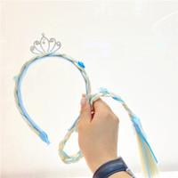 Aksesoris Anak Headband Bando Rambut Palsu Kepang Mahkota Crown - Biru Muda