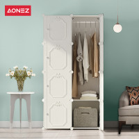Aonez lemari pakaian wardrobe plastik 8 muka 5 slot 1 gantungan baju - Putih, All Size