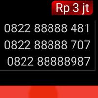 Nomor Cantik simpati 4G 0822 88888 987 panca 88888 unik hoki mi1
