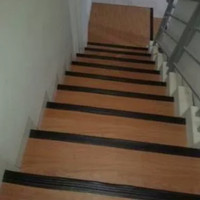 Step nosing karet - list tangga - anti slip - Hitam Polos - 1 meterr