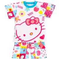 Setelan Pendek Baju Hello Kitty 1- 6 Tahun - Kaos Anak Lucu- Baju Anak