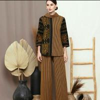 setelan batik wanita celana kulot blouse ethnic tenun lurik AT001