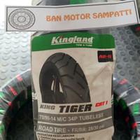 Ban Motor Kingland King Tiger CRT 1 Uk. 70/90 Ring 14 Tubeless