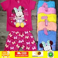Baju Setelan anak Cewek Minnie Mouse 2-8 Tahun - Size 8, Orange